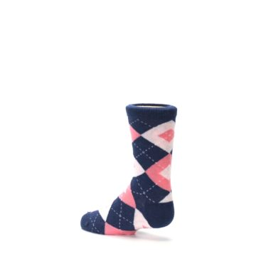 Image of Flamingo Petal Pink Navy Argyle Junior Groomsmen Kid's Dress Socks (side-2-back-14)