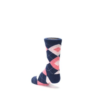 Image of Flamingo Petal Pink Navy Argyle Junior Groomsmen Kid's Dress Socks (side-2-back-15)