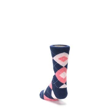 Image of Flamingo Petal Pink Navy Argyle Junior Groomsmen Kid's Dress Socks (side-2-back-16)