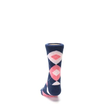 Image of Flamingo Petal Pink Navy Argyle Junior Groomsmen Kid's Dress Socks (back-17)