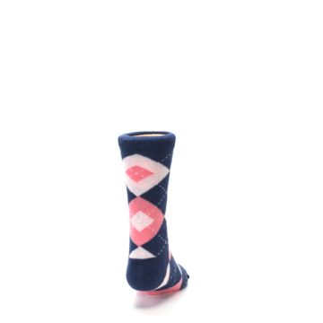 Image of Flamingo Petal Pink Navy Argyle Junior Groomsmen Kid's Dress Socks (back-19)