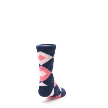 Image of Flamingo Petal Pink Navy Argyle Junior Groomsmen Kid's Dress Socks (side-1-back-20)