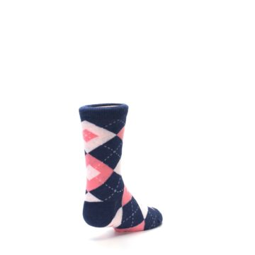 Image of Flamingo Petal Pink Navy Argyle Junior Groomsmen Kid's Dress Socks (side-1-back-21)