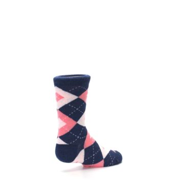 Image of Flamingo Petal Pink Navy Argyle Junior Groomsmen Kid's Dress Socks (side-1-back-22)