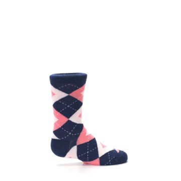 Image of Flamingo Petal Pink Navy Argyle Junior Groomsmen Kid's Dress Socks (side-1-24)