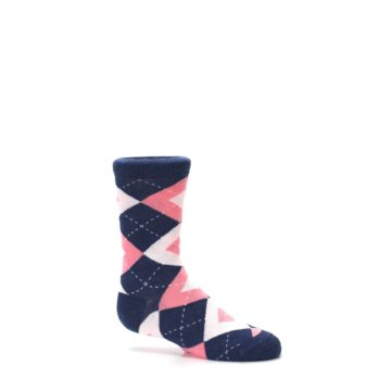 Image of Flamingo Petal Pink Navy Argyle Junior Groomsmen Kid's Dress Socks (side-1-25)