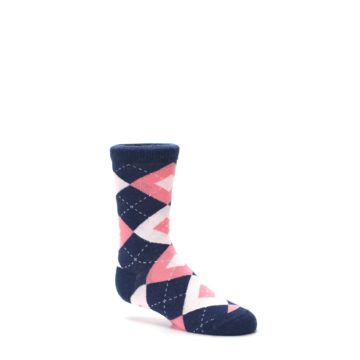 Image of Flamingo Petal Pink Navy Argyle Junior Groomsmen Kid's Dress Socks (side-1-26)