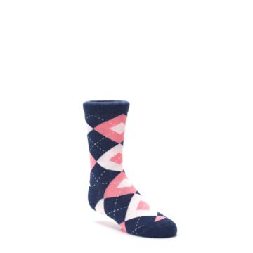 Image of Flamingo Petal Pink Navy Argyle Junior Groomsmen Kid's Dress Socks (side-1-27)