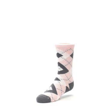 Image of Petal Pink Gray Junior Groomsmen Kid's Dress Socks (side-2-front-08)
