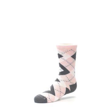 Image of Petal Pink Gray Junior Groomsmen Kid's Dress Socks (side-2-09)