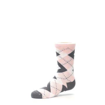Image of Petal Pink Gray Junior Groomsmen Kid's Dress Socks (side-2-10)