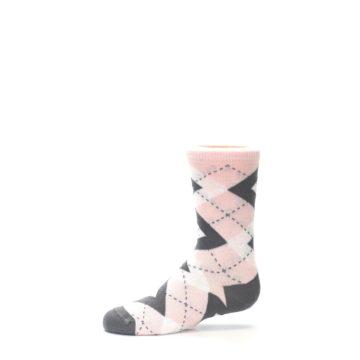 Image of Petal Pink Gray Junior Groomsmen Kid's Dress Socks (side-2-11)