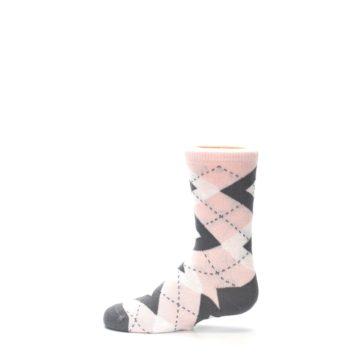 Image of Petal Pink Gray Junior Groomsmen Kid's Dress Socks (side-2-12)