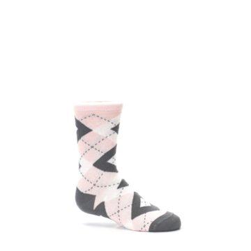 Image of Petal Pink Gray Junior Groomsmen Kid's Dress Socks (side-1-25)