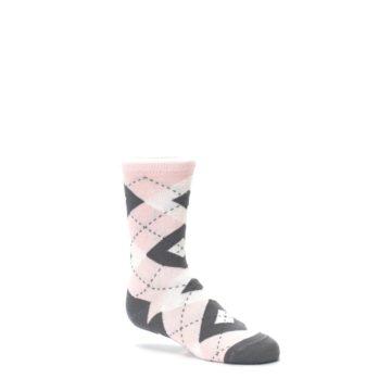 Image of Petal Pink Gray Junior Groomsmen Kid's Dress Socks (side-1-26)