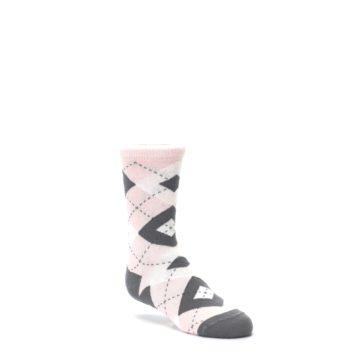 Image of Petal Pink Gray Junior Groomsmen Kid's Dress Socks (side-1-27)