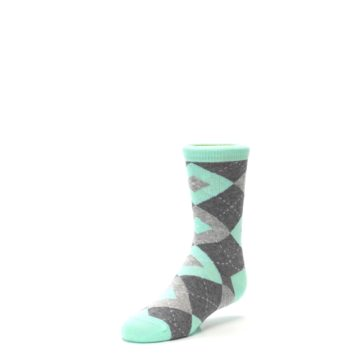 Image of Mint Gray Junior Groomsmen Kid's Dress Socks (side-2-front-08)