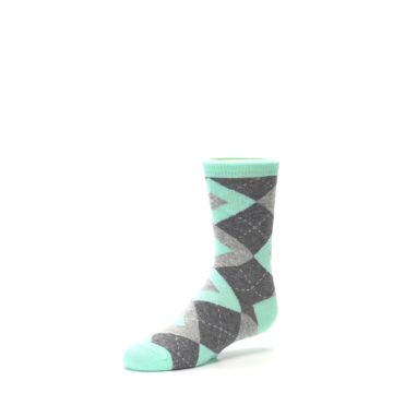 Image of Mint Gray Junior Groomsmen Kid's Dress Socks (side-2-09)