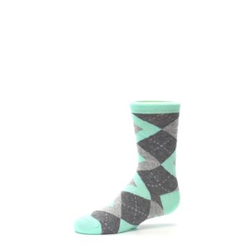 Image of Mint Gray Junior Groomsmen Kid's Dress Socks (side-2-10)