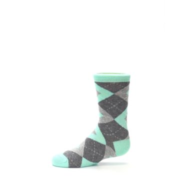 Image of Mint Gray Junior Groomsmen Kid's Dress Socks (side-2-11)