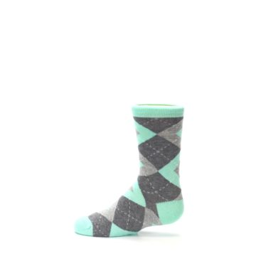 Image of Mint Gray Junior Groomsmen Kid's Dress Socks (side-2-12)