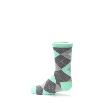 Image of Mint Gray Junior Groomsmen Kid's Dress Socks (side-2-13)