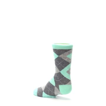 Image of Mint Gray Junior Groomsmen Kid's Dress Socks (side-2-back-14)