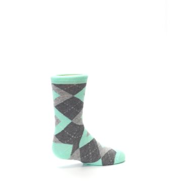 Image of Mint Gray Junior Groomsmen Kid's Dress Socks (side-1-23)