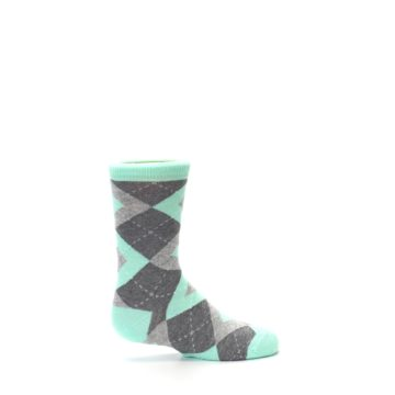 Image of Mint Gray Junior Groomsmen Kid's Dress Socks (side-1-24)