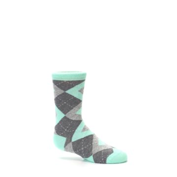 Image of Mint Gray Junior Groomsmen Kid's Dress Socks (side-1-25)