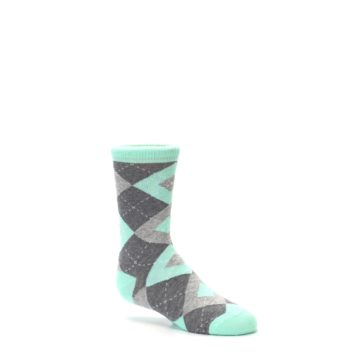 Image of Mint Gray Junior Groomsmen Kid's Dress Socks (side-1-26)
