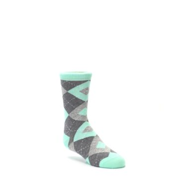 Image of Mint Gray Junior Groomsmen Kid's Dress Socks (side-1-27)