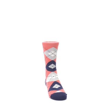 Image of Coral Navy Junior Groomsmen Kid's Dress Socks (side-1-front-03)