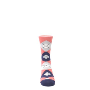 Image of Coral Navy Junior Groomsmen Kid's Dress Socks (front-04)
