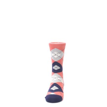 Image of Coral Navy Junior Groomsmen Kid's Dress Socks (front-05)