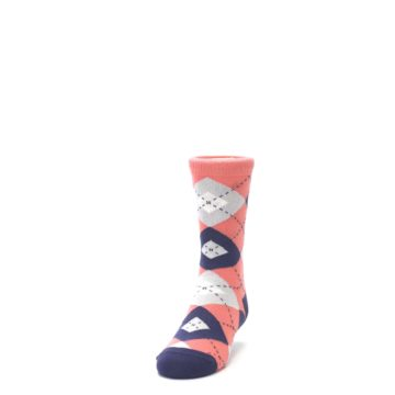 Image of Coral Navy Junior Groomsmen Kid's Dress Socks (side-2-front-06)