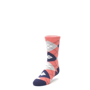 Image of Coral Navy Junior Groomsmen Kid's Dress Socks (side-2-front-07)