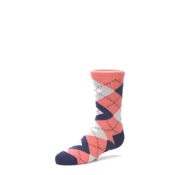Image of Coral Navy Junior Groomsmen Kid's Dress Socks (side-2-09)