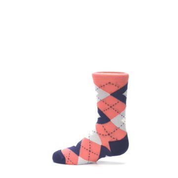 Image of Coral Navy Junior Groomsmen Kid's Dress Socks (side-2-12)