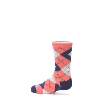 Image of Coral Navy Junior Groomsmen Kid's Dress Socks (side-2-13)