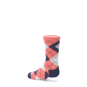 Image of Coral Navy Junior Groomsmen Kid's Dress Socks (side-2-back-14)