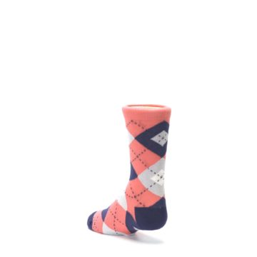 Image of Coral Navy Junior Groomsmen Kid's Dress Socks (side-2-back-15)