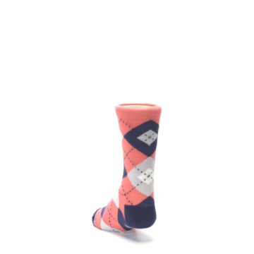 Image of Coral Navy Junior Groomsmen Kid's Dress Socks (side-2-back-16)