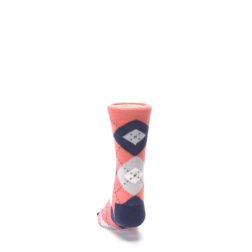 Image of Coral Navy Junior Groomsmen Kid's Dress Socks (back-17)