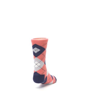 Image of Coral Navy Junior Groomsmen Kid's Dress Socks (side-1-back-20)