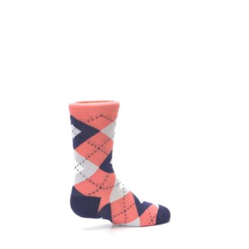 Image of Coral Navy Junior Groomsmen Kid's Dress Socks (side-1-23)