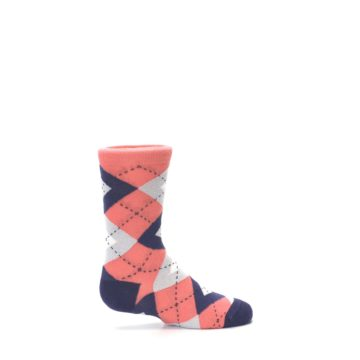 Image of Coral Navy Junior Groomsmen Kid's Dress Socks (side-1-24)
