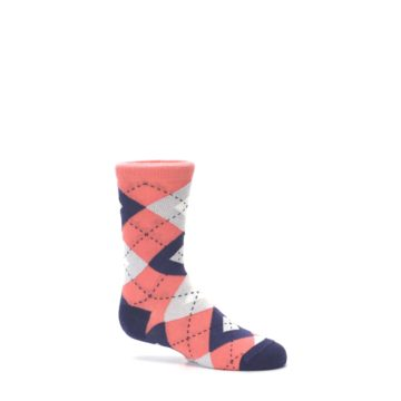 Image of Coral Navy Junior Groomsmen Kid's Dress Socks (side-1-25)