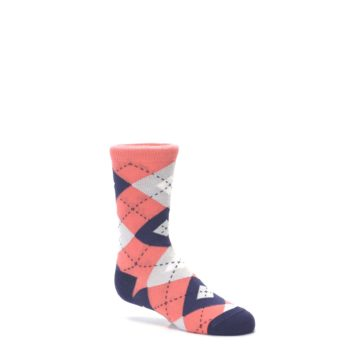 Image of Coral Navy Junior Groomsmen Kid's Dress Socks (side-1-26)