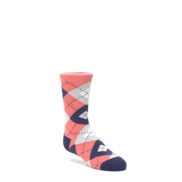 Image of Coral Navy Junior Groomsmen Kid's Dress Socks (side-1-27)
